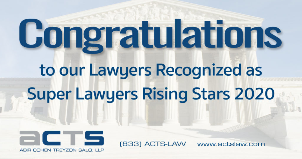 ACTS Law Congratulates Four Outstanding Attorneys Selected to 2020 Rising Stars